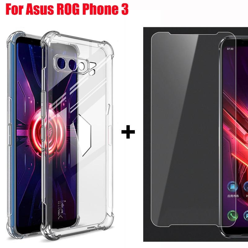 Funda de teléfono transparente suave a prueba de golpes para Asus ROG Phone 3 ZS661KS funda de silicona transparente con cojín de aire ROGPhone 3 con película de pantalla
