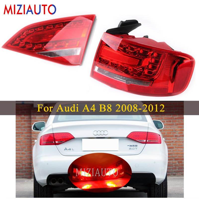 Inner and Outer Side Led Rear tail light For Audi A4 B8 2008-2012 Tail Stop Brake Lights Car Accessories Rear turn signal lamp led rear tail lights for ford transit 2014 tail stop brake lights european version car accessories rear turn signal fog lamp