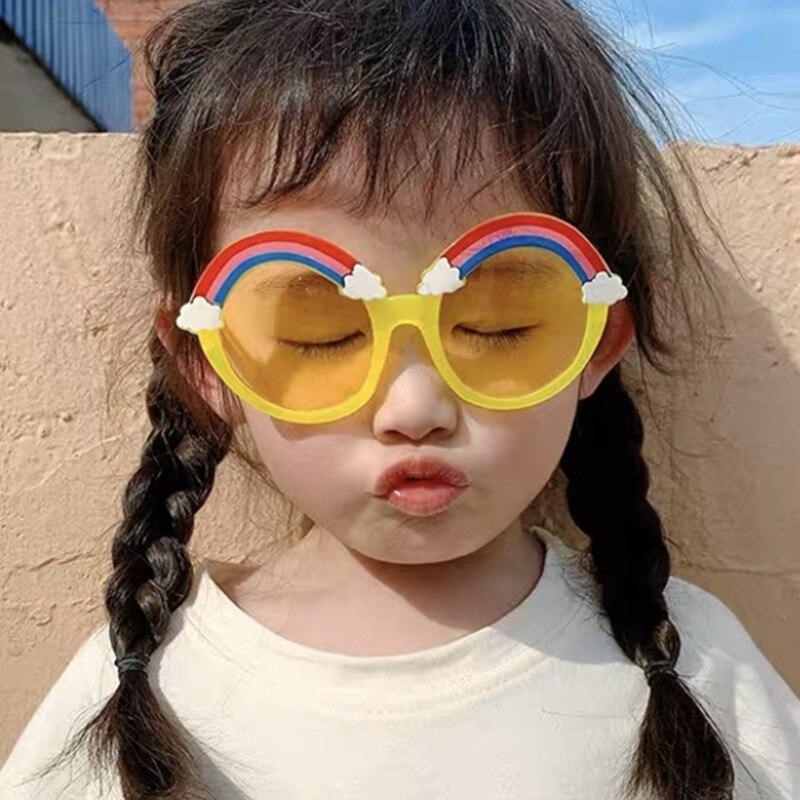 New Sun Flower Kids Sunglasses Boys Girls Round Frame Trend UV400 glasses sunglasses children Lovely