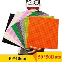 50*50 Dots Base Plate Lepinblocks Building Blocks Wall DIY BasePlate 40*40cm Small Bricks Toys for Children Compatible Brand
