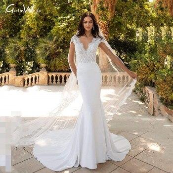 Modern Satin Lace Mermaid Wedding Dress Classic V-neck Bridal Robes Backless Court Train Bride Dresses Vestido De Noiva