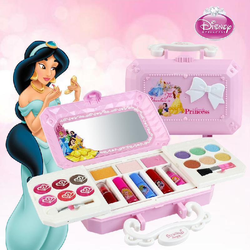 Disney princesa neve branca aurora meninas jogos do bebê cosméticos brinquedo beleza mini caso crianças maquiagem jogar casa brinquedo para meninas presente