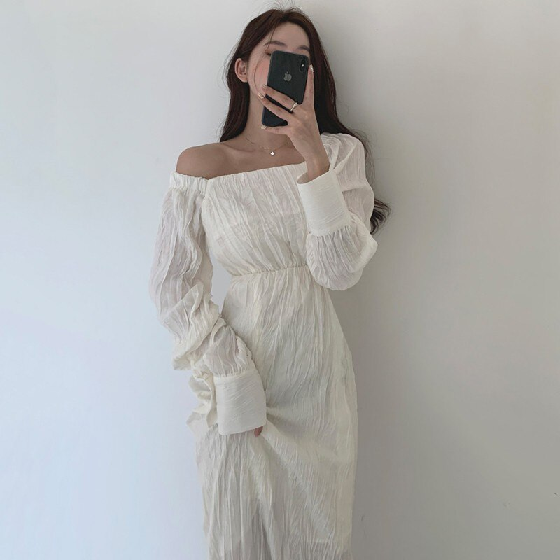 YAMDI praça collar vestido mulheres coreano cintura alta lace up elegante 2020 primavera outono moda manga comprida midi vestido com zíper femal