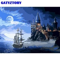 gatyztory diy oil painting by numbers for adults landscape picture by number 60x75cm frame diy gift handmade wall art picture