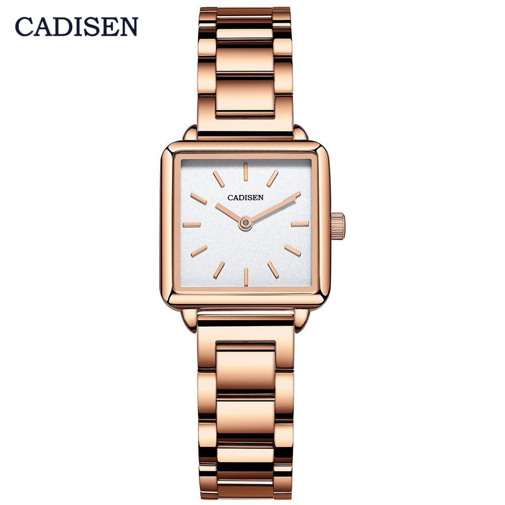 Relojes cuadrados de moda CADISEN reloj de cuarzo analógico Simple de lujo para mujer reloj de pulsera de negocios resistente al agua de acero para mujer CS2043