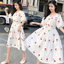 JVCAKE Women Dress  White 5XL Cherry Embroidery  Hedging V neck New Korean Loose Short SleeveMidi Dress plus Size Women  XL 90kg