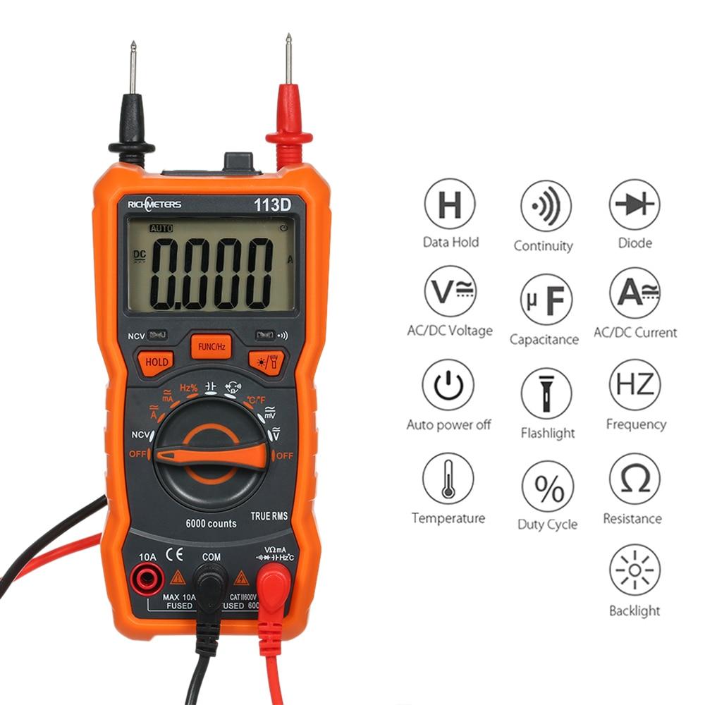 Цифровой мультиметр RICHMETERS RM113D NCV, 6000 отсчетов, автоматический выбор диапазона, измеритель напряжения переменного/постоянного тока с флэш-подсветильник кой, большой экран, функция TRUE RMS