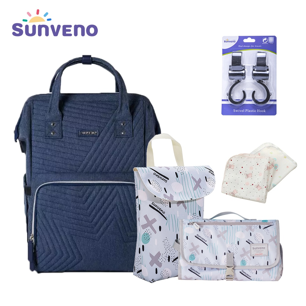 Sunveno 5 in 1 Combined Gift Pack Diaper Bag Pure Color Mummy Baby Care Nappy Bag Large Capacity Waterproof Backpack Travel Bag