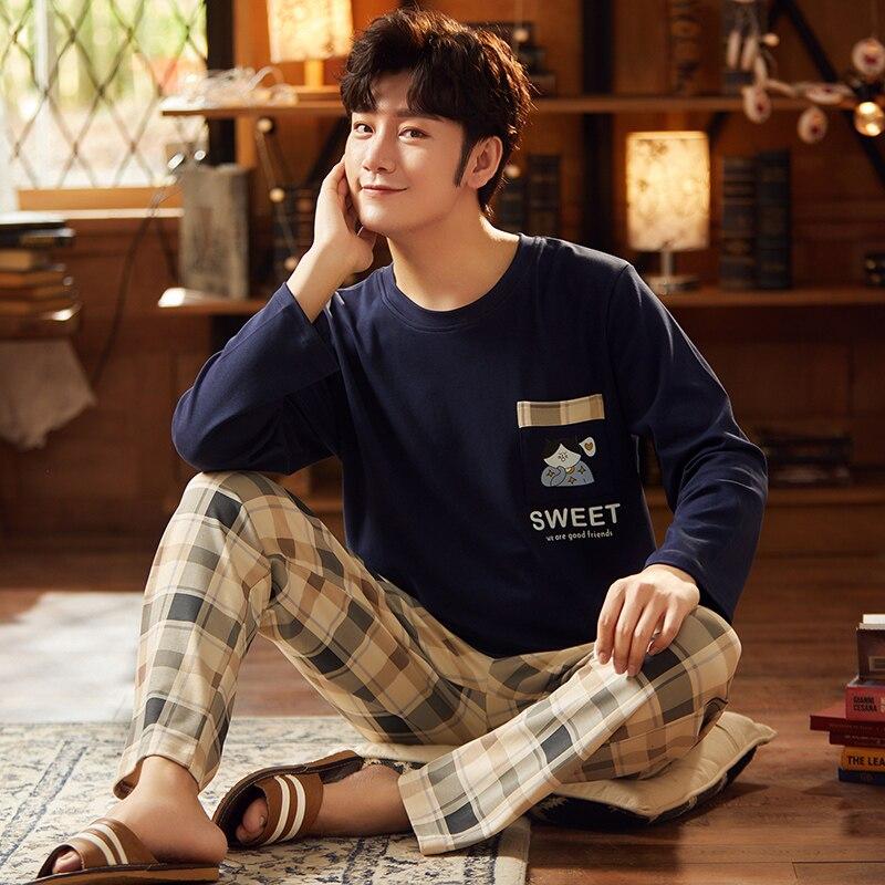 2021 Spring Men's Cotton Pyjamas Long Sleeve Trousers Sleepwear Cartoon Casual Sleep&Lounge Pajamas