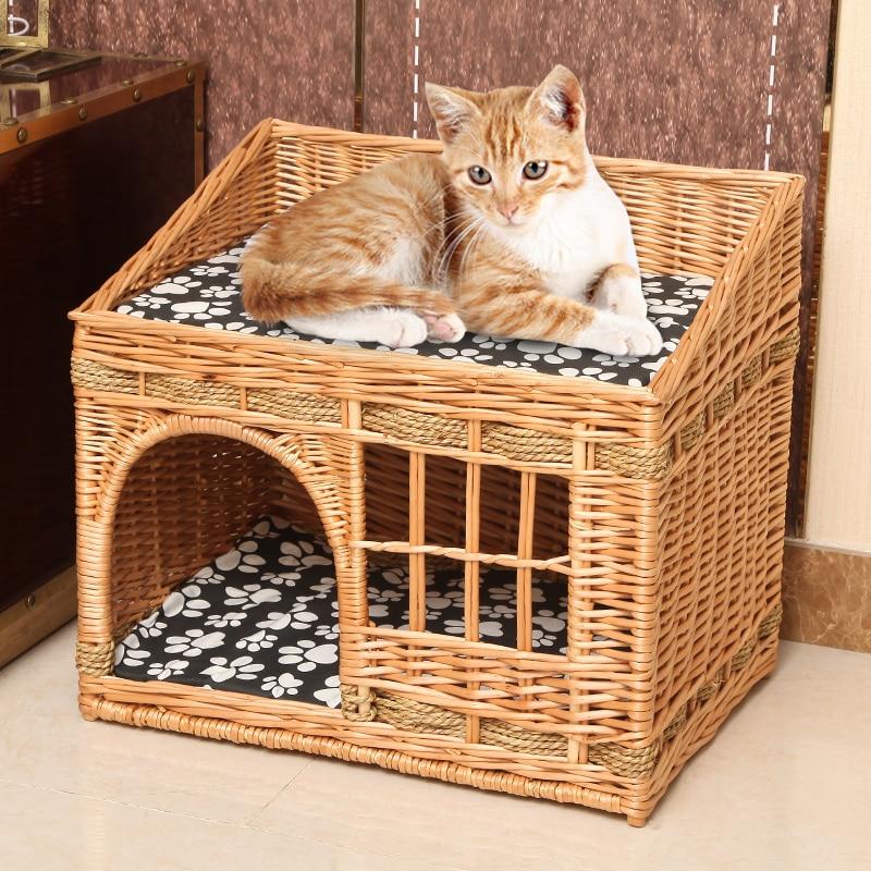 Casa de cama para gatos hecha a mano en verano Casa de mimbre para mascotas duradera cama para dormir transpirable en la perrera dropshipping
