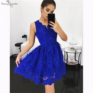Royal Blue Lace Graduation Dresses Short V-Neck Zipper 2020 Mini Homecoming Dresses Simple Party Gowns Prom Dress Cheap