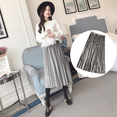 2021 new fashion maternity lace knit skirt care belly stretch fancy skirt for pregnant women prgnancy clothing plus enlarge