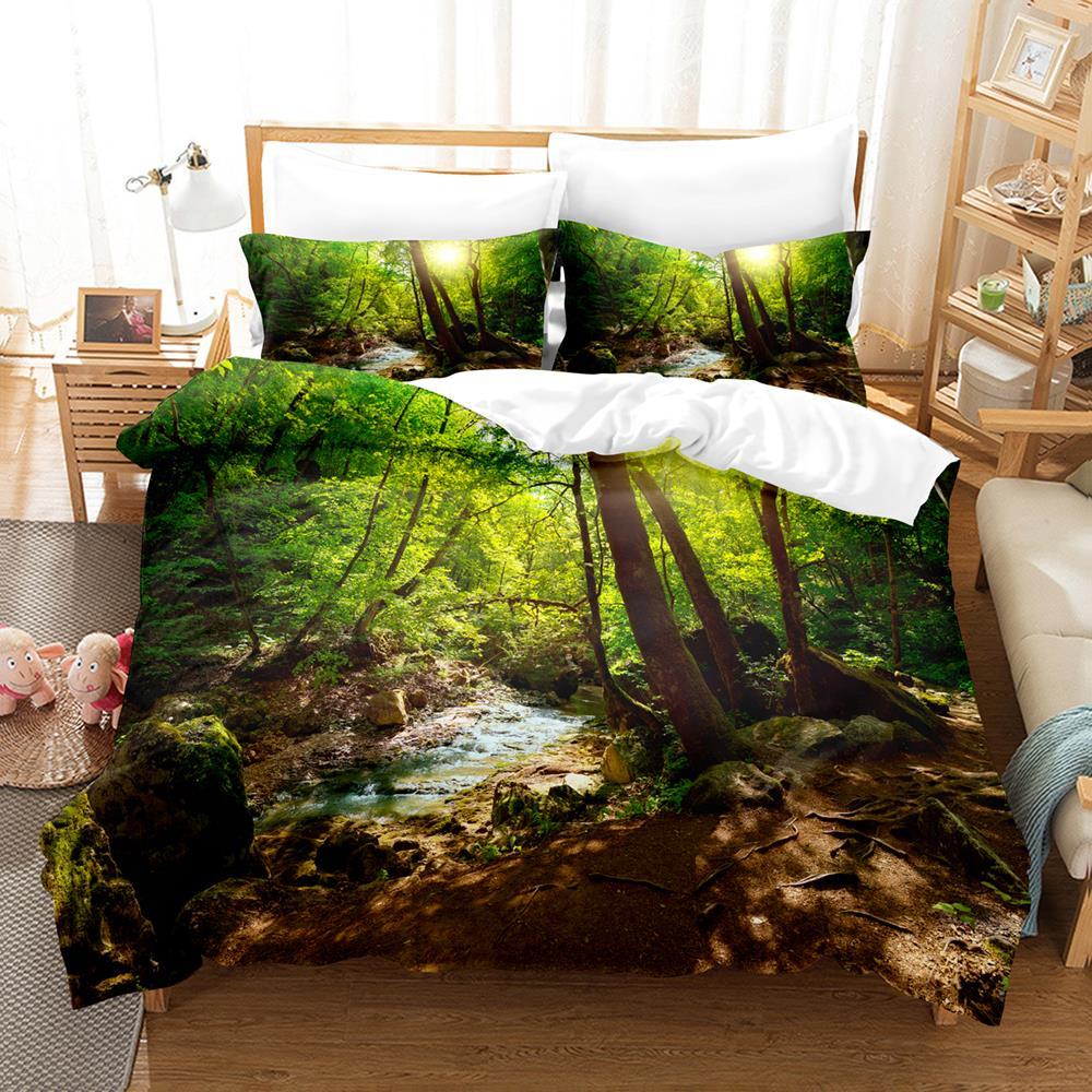 طقم سرير شجرة واحدة التوأم كامل الملكة الملك الحجم الجبل مشهد طقم سرير للأطفال غرفة نوم الطفل Duvetcover مجموعة 006