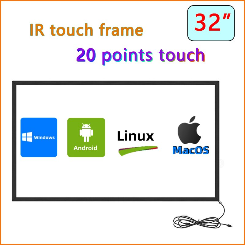 HaiTouch 32 بوصة الأشعة تحت الحمراء لوحة شاشة لمس ، الأشعة تحت الحمراء لوحة متعددة اللمس تراكب عدة ، 32