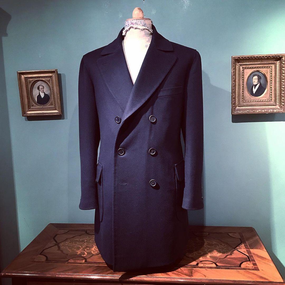 2021 الأزرق الداكن الذكور دعوى معطف طويل الخريف وسيم الرجال معطف دافئ مزدوجة الصدر سليم صالح مخصص