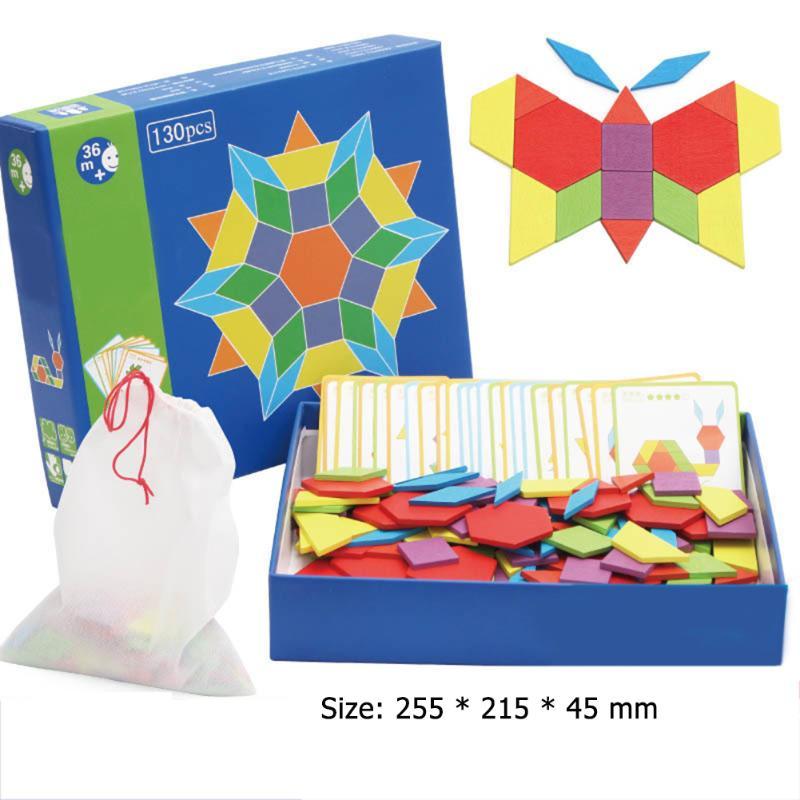 Baby Toys Montessori Wooden Jigsaw Puzzle Board Set Creative DIY Tangram Kid Hand Grab Board Educati