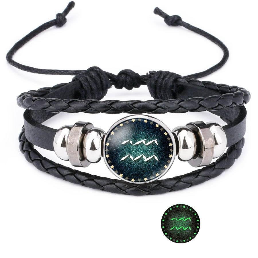 Купить с кэшбэком 12 Zodiac Sign Glow in The Dark bracelet & Bangle For Women Men Glass Constellations Charm Leather Rope Chains Fashion Jewelry