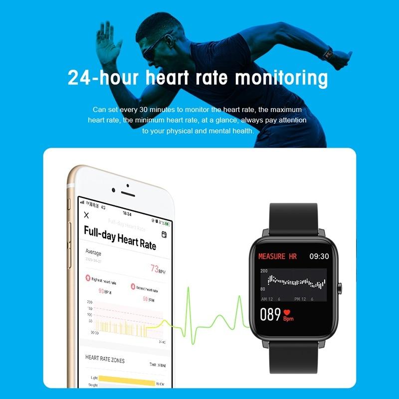 Смарт-часы P2 2020 водонепроницаемые спортивные с пульсометром и напоминанием о звонках и сообщениях-2