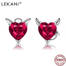 LEKANI Stud Earring For Women 925 Sterling Silver Inlay Red Cubic Zirconia Earring Devil And Angel S