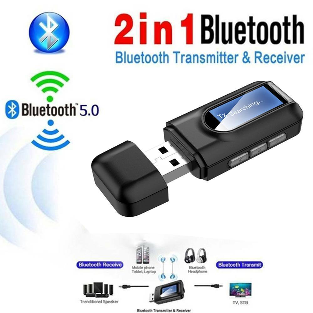 Adaptador Bluetooth 5,0, Adaptador inalámbrico con pantalla LCD, USB, Bluetooth Transmisor receptor,...