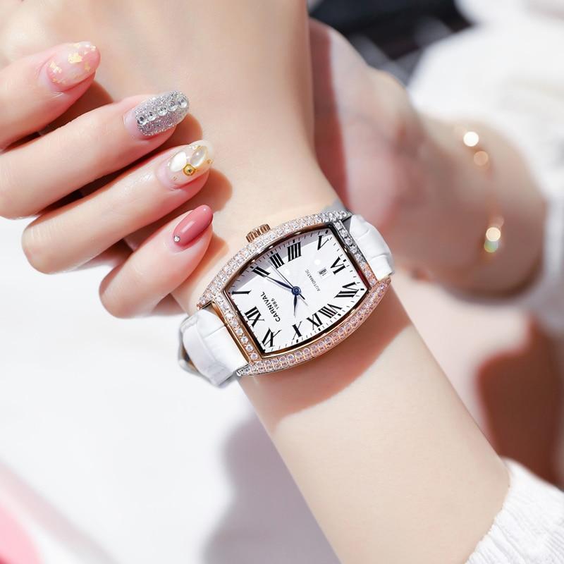 CARNIVAL Luxury Brand Women Dress Watch Ladies Fashion Waterproof Gold Silver Automatic Mechanical Wristwatches Relogio Feminino enlarge