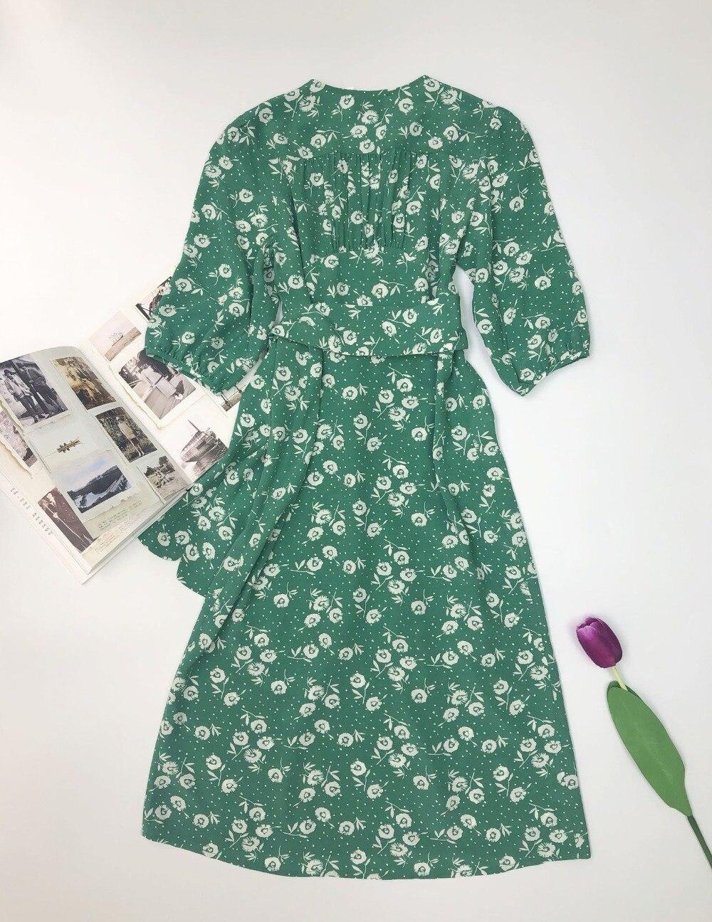 Vestido Midi Vintage para mujer, envoltura con fajas, nuevo estilo veraniego, corte de té, verde, Floral, estampado de diente de león, vestido de abrigo para mujer de vacaciones