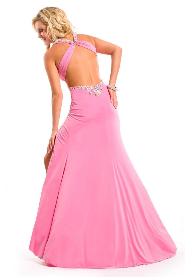 O envio gratuito de 2016 sexy novo design v pescoço sexy cristal vestidos formales rosa longo aberto volta festa baile formatura vestidos