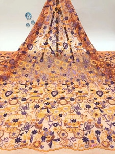 Sequined lace fabric 2021 high quality African French tulle lace fabric, suitable for Nigerian women's evening dress D41771