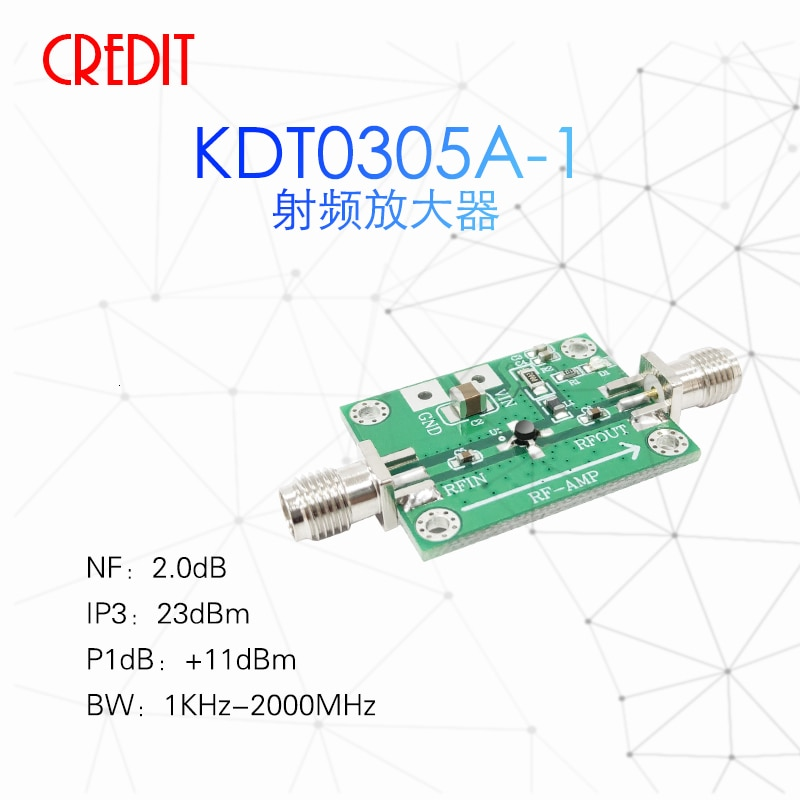 Amplificador LNA de bajo ruido 1KHz-2GHz RF 32dB amplificación de señal pequeña banda ancha de alta ganancia