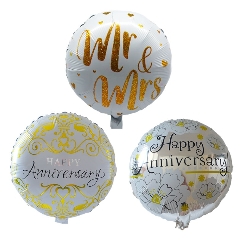 6 pçs 18 polegada feliz aniversário balões aniversário decoração da festa de casamento mr and mrs folha de alumínio balão suprimentos