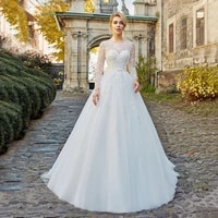white wedding dresses a line engagement weddings party classic o neck long sleeves sashes sweep train elegant bridal gown