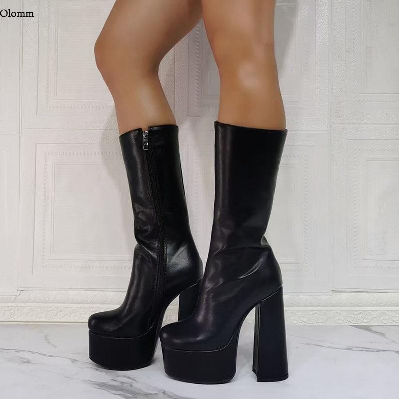 Olomm اليدوية 2021 موضة النساء منتصف العجل أحذية سميكة عالية الكعب نيس جولة تو أحذية الحفلات السوداء أنيقة النساء لنا حجم 5-15