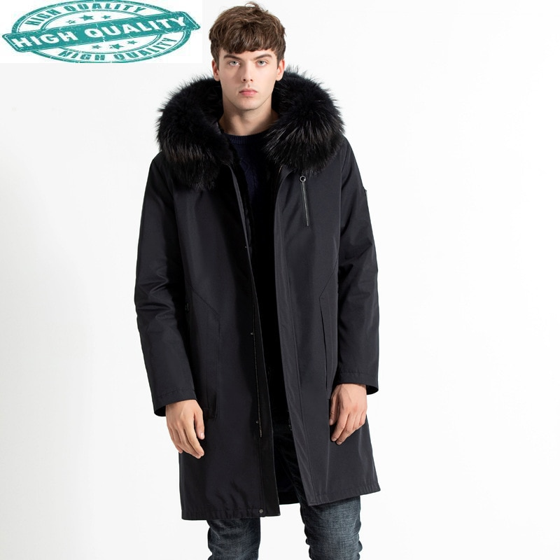 سترة سترة شتوية للرجال ملابس سميكة معطف فرو أرنب ريكس حقيقي للرجال سترة بقلنسوة للرجال Chaqueta Hombre LXR163