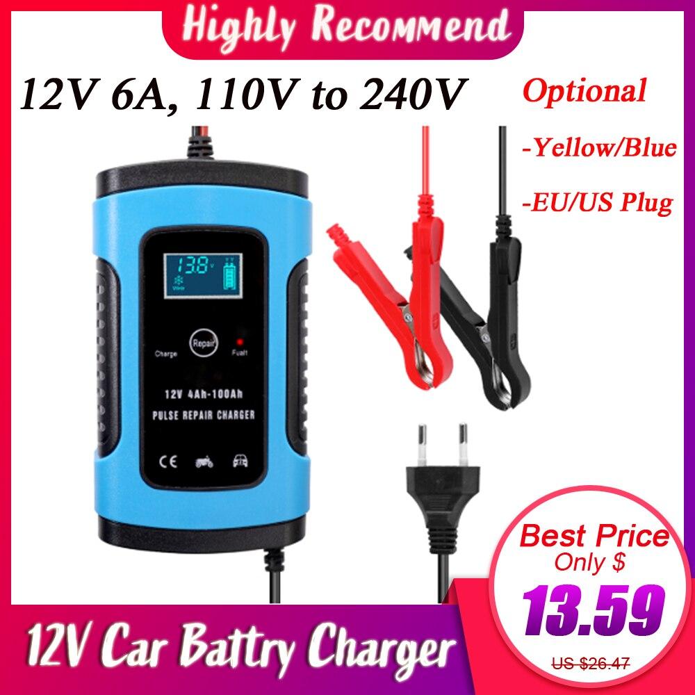 Cargador de batería automático para coche 110V 220V 12V 6 A, pulso de carga rápida inteligente, pantalla LCD Digital de ácido de plomo seco húmedo