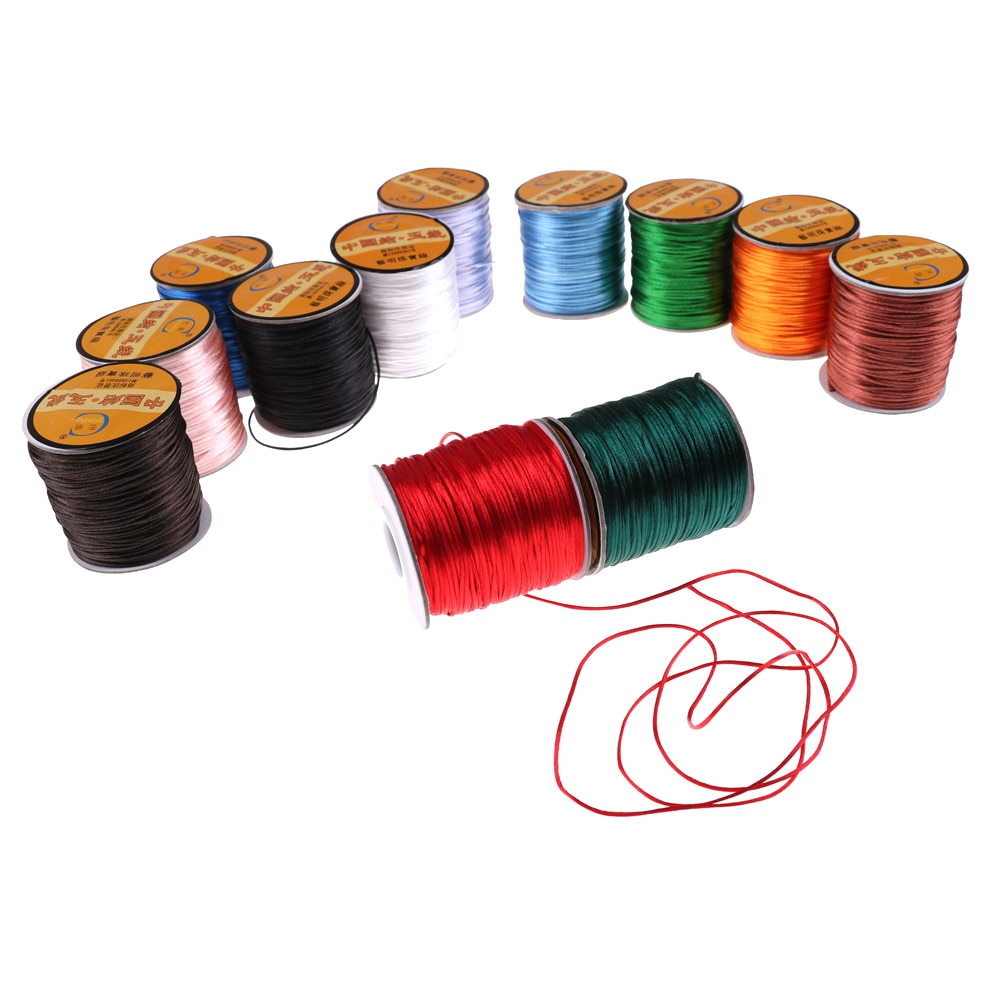 75meter 1mm  Soft Satin Nylon Cord Solid Rope For Jewelry Making Non-Toxic And Tasteless MultiColor DIY Accessories