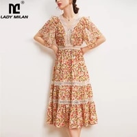 100 natural silk womens dresses sexy v neck short sleeves embroidery lace patchwork printed tiered fashion mid dress vestidos