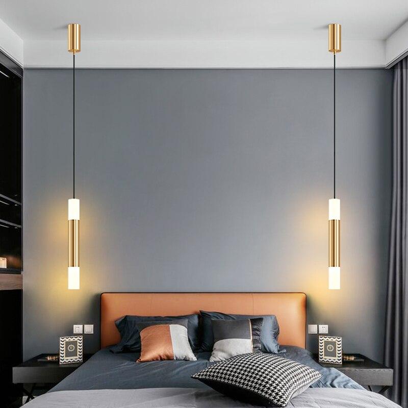 الإبداعية سرير فاخر الجانب معلقة قلادة أضواء الألومنيوم الاكريليك 6 واط الذهب سقف تعليق مصباح غرفة نوم بار ضوء أبيض دافئ