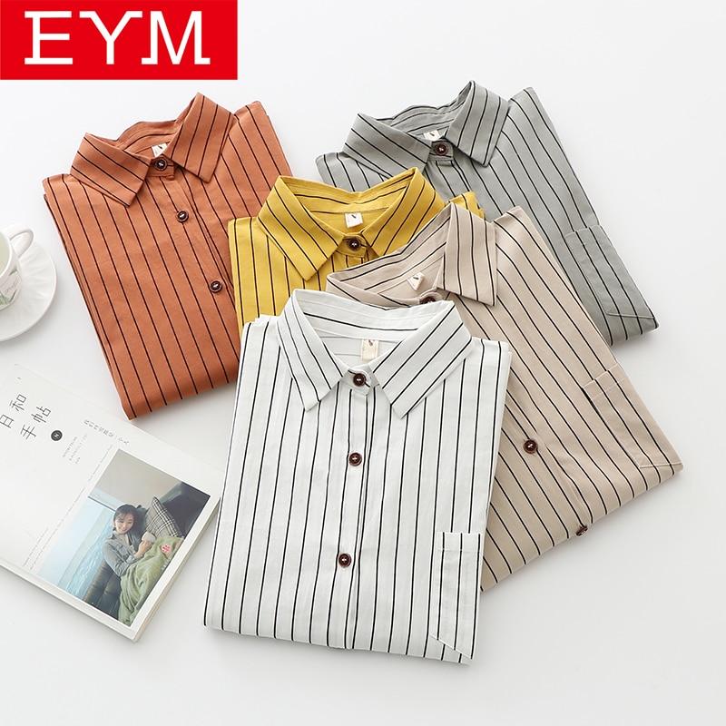 EYM Brand Blouses Woman 2020 Spring New Stripe Blouse Women Long Sleeve Shirts Loose Large Size Cotton Lady Tops Blusa Feminina