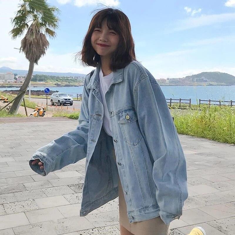 Куртка женская джинсовая в стиле Харадзюку, базовая Повседневная Уличная одежда, Классическая Свободная верхняя одежда, Модный жакет в Кор...