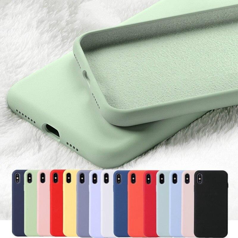 En Silicone dorigine pour iPhone 11 Pro Max XR XS X Caoutchouc Bonbon pour iPhone 6 6S 7 8 Plus Cas