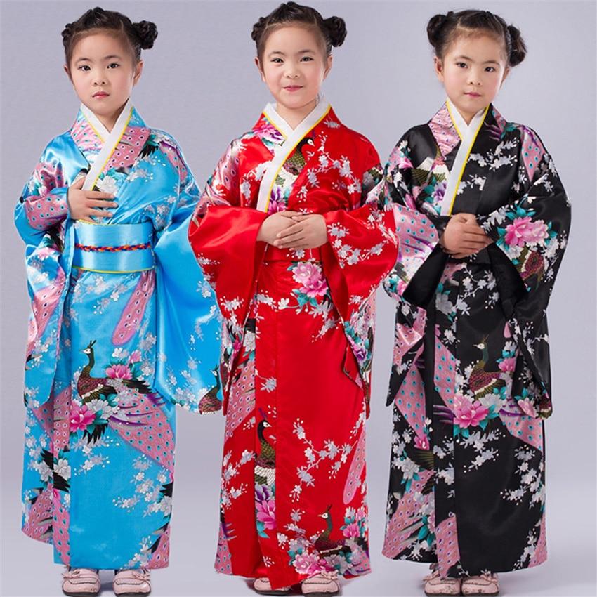 110-150cm niños niñas trajes japoneses tradicionales vestido Kimono con Obi traje de baño Yukata para niños Ropa de baile para niñas