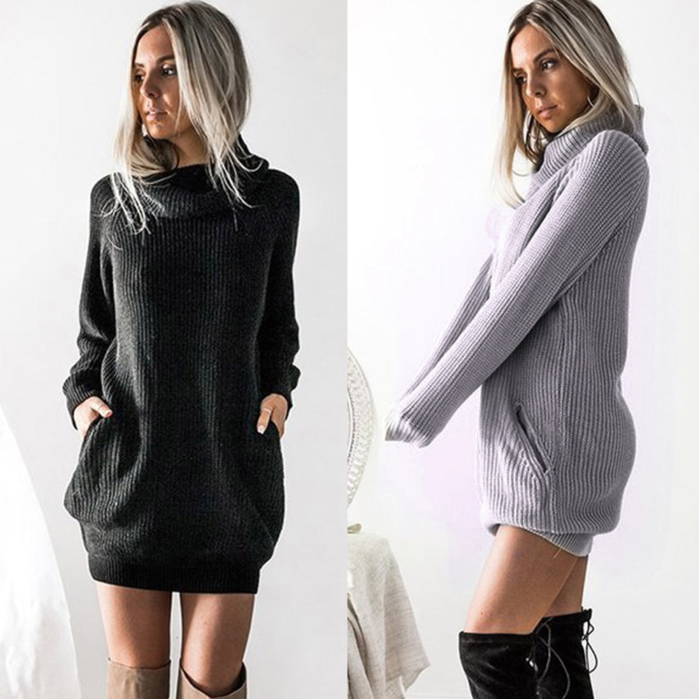 Vestido de invierno para mujeres embarazadas, Jersey de punto de cuello alto de manga larga, vestido casual para mujeres embarazadas, otoño 2020