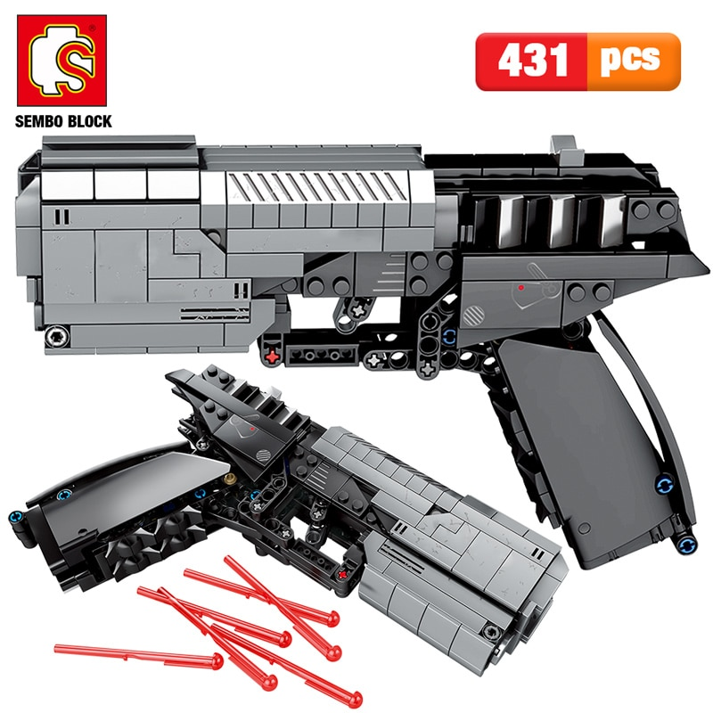 SEMBO 431pcs City Military Police Pistol Gun Building Blocks high-tech The Signal Gun Assembly Bricks sets Toys for Boys