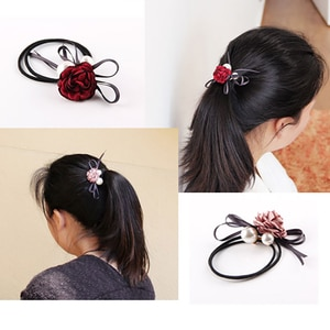 Vintage Women Silk Peony Flower Ribbon Bows Girls Headbands Ponytail Scrunchies Elastic Hair Bands Rubber Ropes Hair Accessory