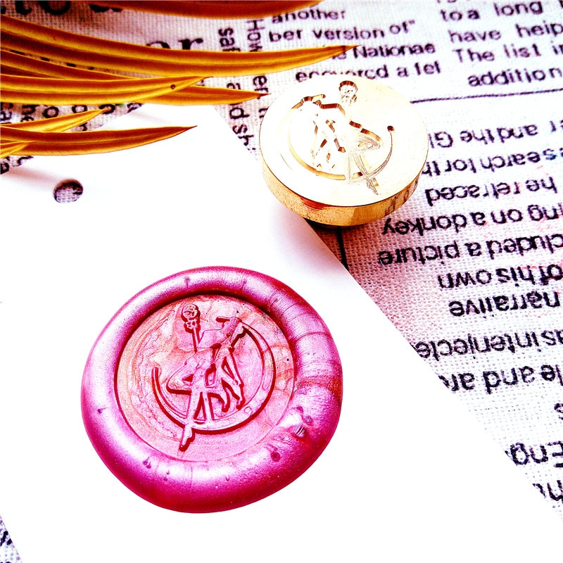 DIY marinero Luna sello de cera personalizar doble sello personalizado/sellado de cera/cera sello de cera de boda sello de cera Sol y magia de la luna