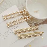 korean pearl hairpin fashion golden metal hairpin rhinestone side clip hair accessories headdress women hair accessories jewelry