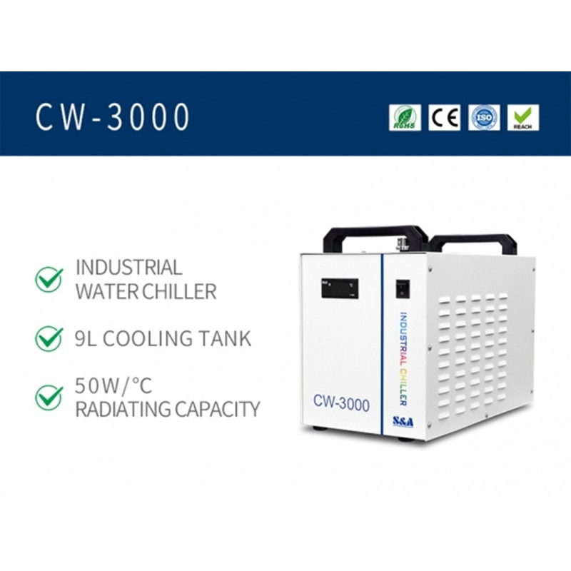 CW-3000 Portable Industrial Air Cooled Chillers For Co2 Laser Tube enlarge