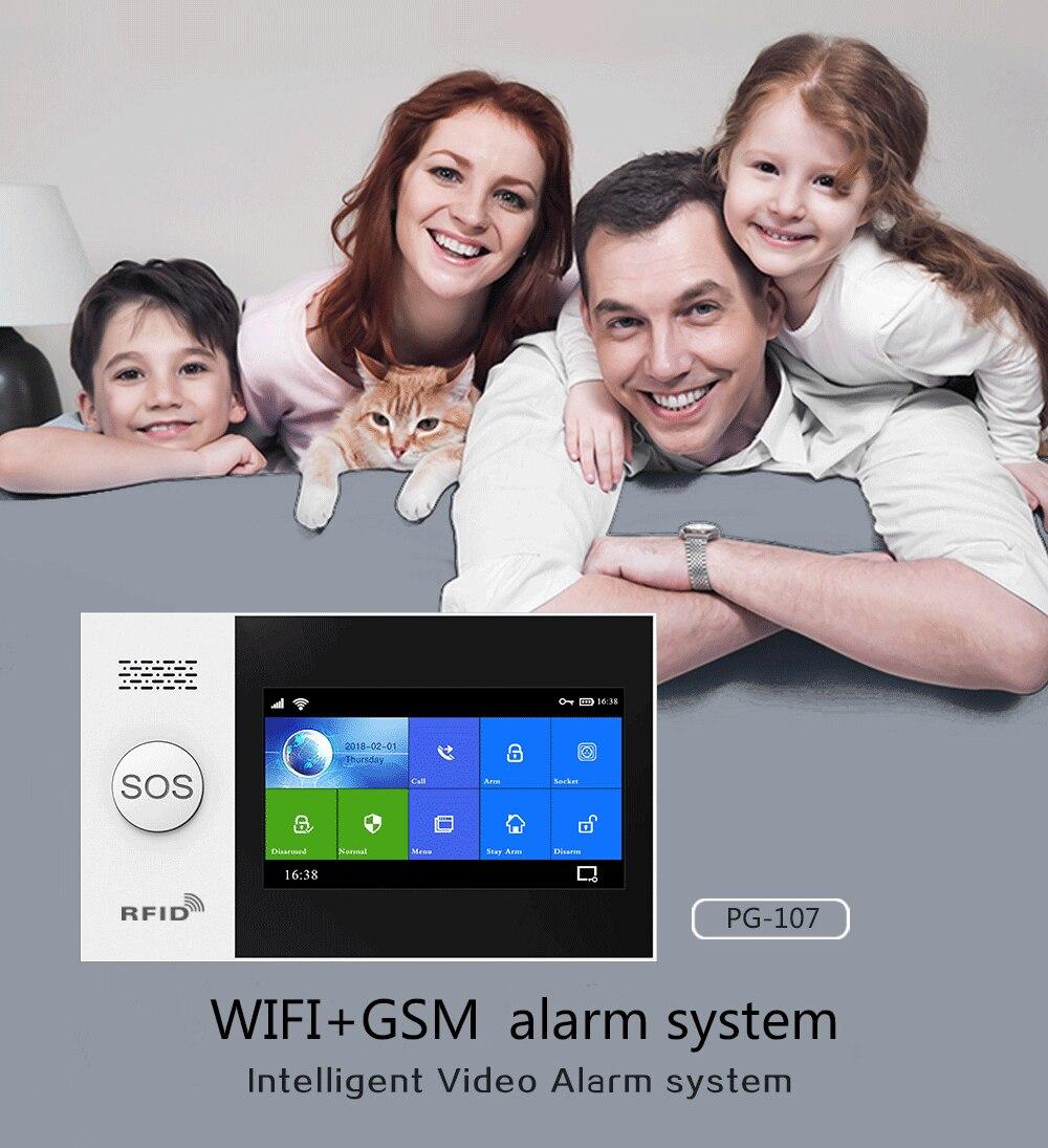 MULO Wireless Tuya Smart Home Wifi GSM Simply Safe Alarm System for Home Business SMS APP Control Burglar Alarm DIY Kit PG107 enlarge