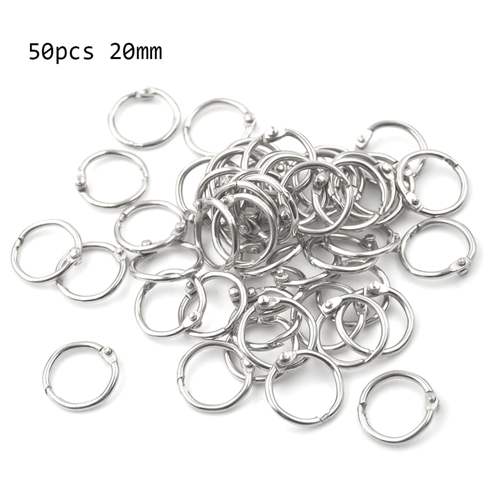 50Pcs Metal Ring Binder Staple Book Binder Albums Loose-leaf Book Hoops Loose Leaf Ring Keychain Office Binding Supplies