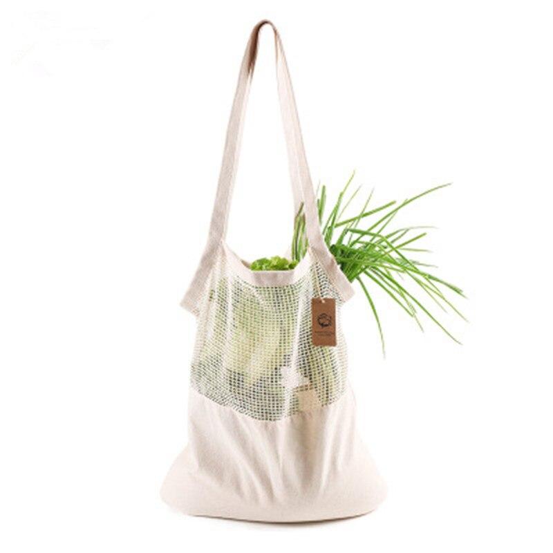 Eco-friendly Cotton Shopping Bag Ecobag Fruits And Vegetables Shoulder Cotton Mesh Bag Long Portable Cotton Mesh Bag